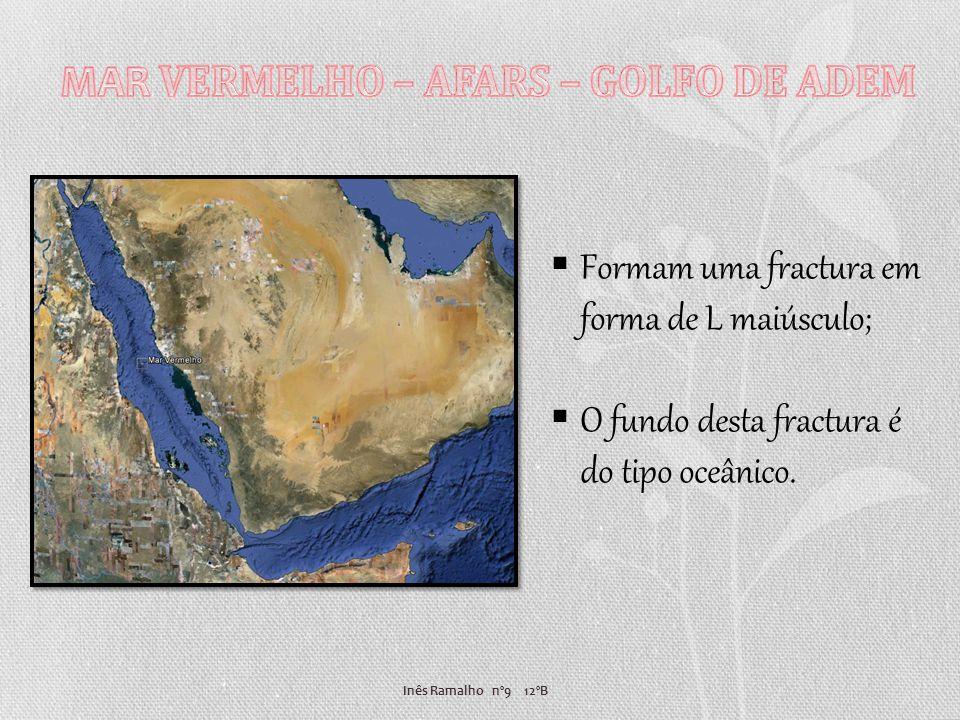 Inês Ramalho nº9 12ºB Observação na parte sul de crosta nova de tipo oceânica; A separação das placas Arábica e Africana continua a uma velocidade de 1,5cm por ano.