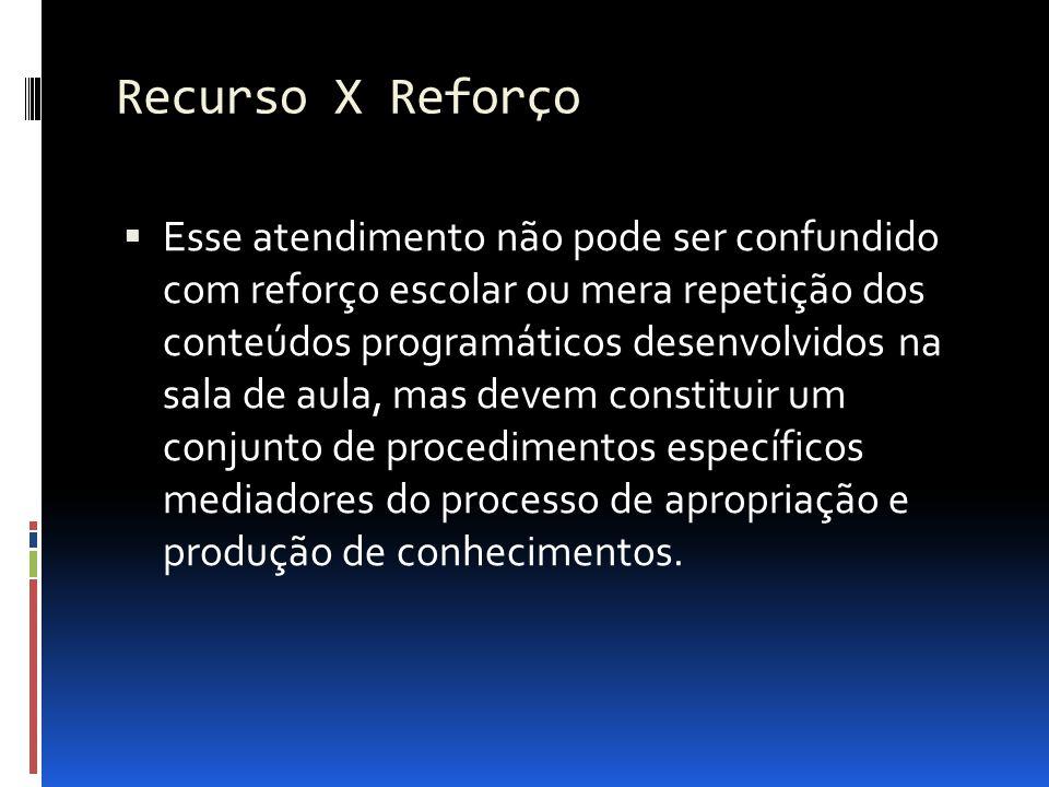 Recurso X Reforço Esse atendimento não pode ser confundido com reforço escolar ou mera repetição dos conteúdos programáticos desenvolvidos na sala de