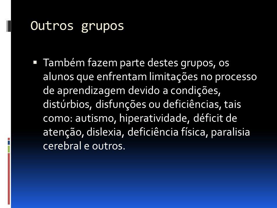 Outros grupos Também fazem parte destes grupos, os alunos que enfrentam limitações no processo de aprendizagem devido a condições, distúrbios, disfunç