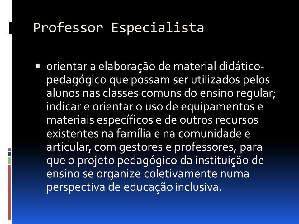 Professor Especialista orientar a elaboração de material didático- pedagógico que possam ser utilizados pelos alunos nas classes comuns do ensino regu