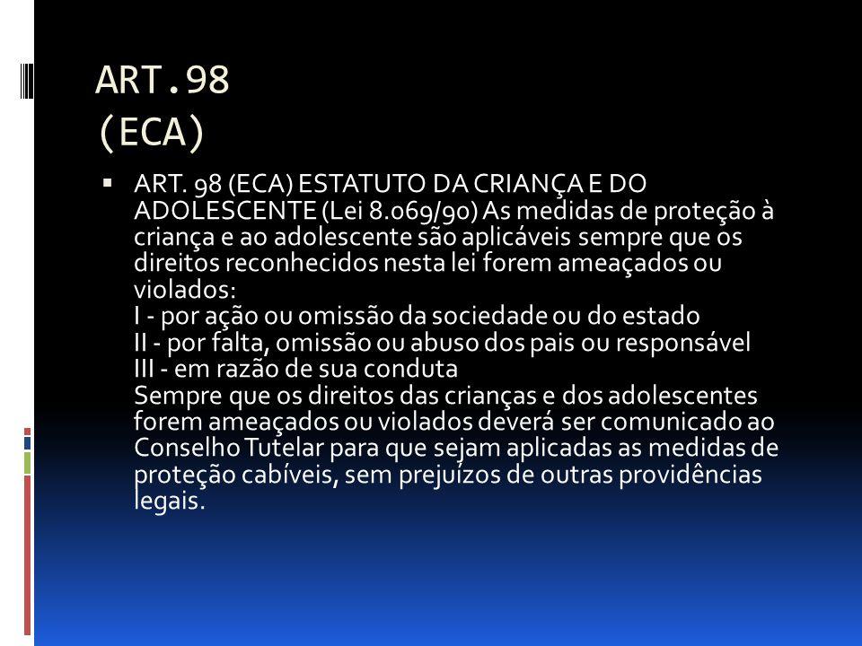 ART.98 (ECA) ART. 98 (ECA) ESTATUTO DA CRIANÇA E DO ADOLESCENTE (Lei 8.069/90) As medidas de proteção à criança e ao adolescente são aplicáveis sempre