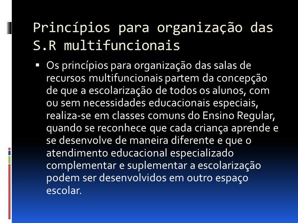 Princípios para organização das S.R multifuncionais Os princípios para organização das salas de recursos multifuncionais partem da concepção de que a