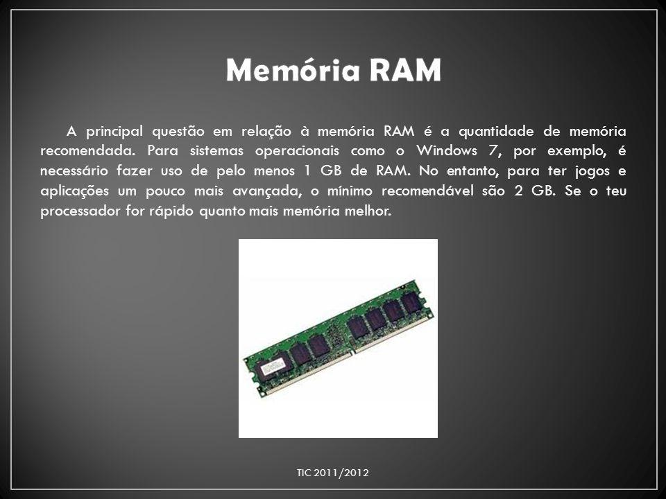 A principal questão em relação à memória RAM é a quantidade de memória recomendada. Para sistemas operacionais como o Windows 7, por exemplo, é necess