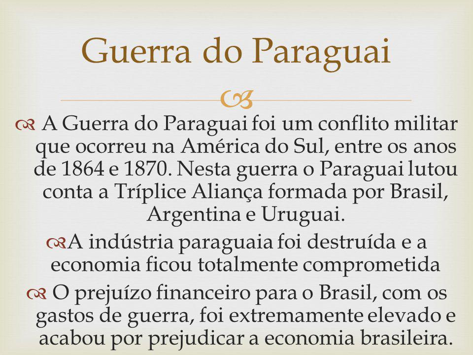A Guerra do Paraguai foi um conflito militar que ocorreu na América do Sul, entre os anos de 1864 e 1870. Nesta guerra o Paraguai lutou conta a Trípli