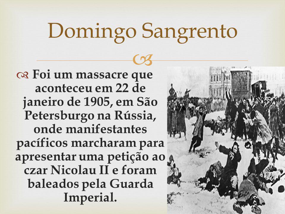 Foi um massacre que aconteceu em 22 de janeiro de 1905, em São Petersburgo na Rússia, onde manifestantes pacíficos marcharam para apresentar uma petiç