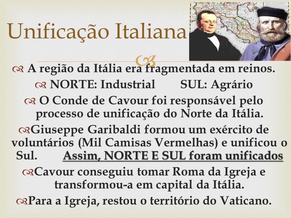 A região da Itália era fragmentada em reinos. NORTE: IndustrialSUL: Agrário O Conde de Cavour foi responsável pelo processo de unificação do Norte da