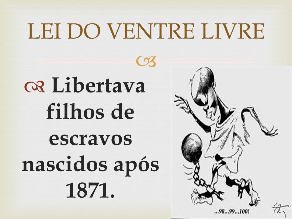 Libertava filhos de escravos nascidos após 1871. LEI DO VENTRE LIVRE