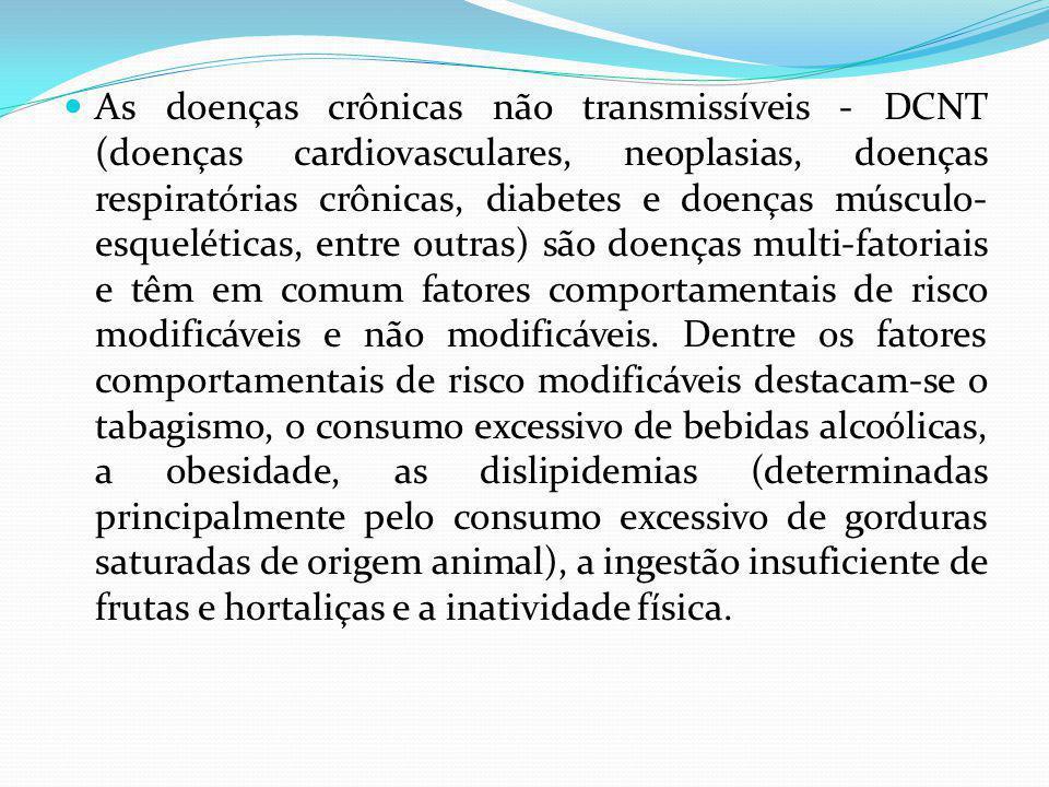 As doenças crônicas não transmissíveis - DCNT (doenças cardiovasculares, neoplasias, doenças respiratórias crônicas, diabetes e doenças músculo- esque