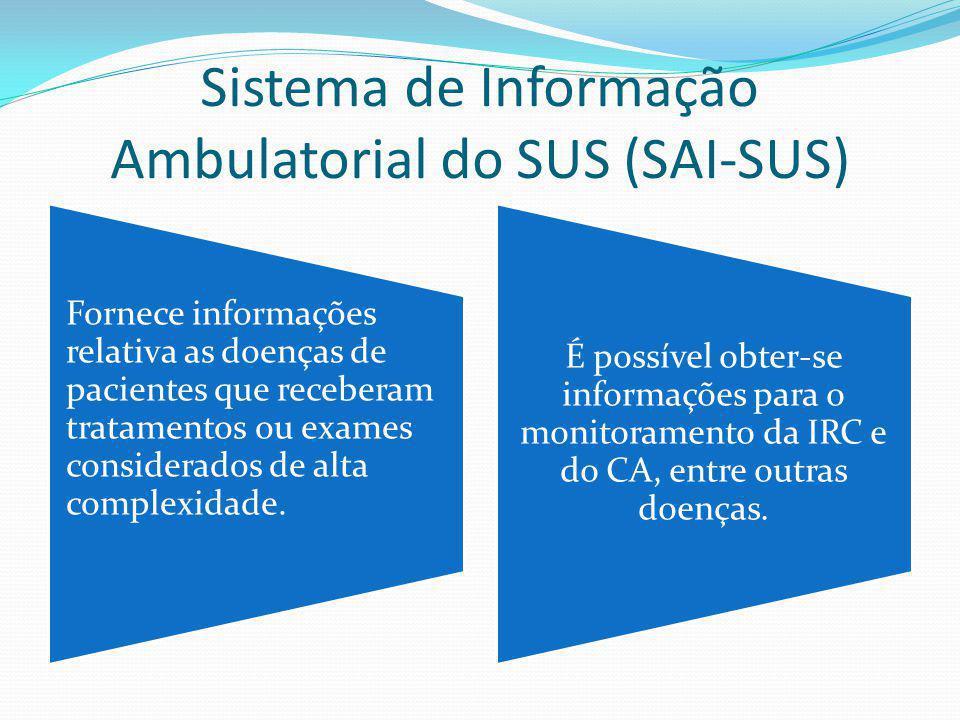 Sistema de Informação Ambulatorial do SUS (SAI-SUS) Fornece informações relativa as doenças de pacientes que receberam tratamentos ou exames considera