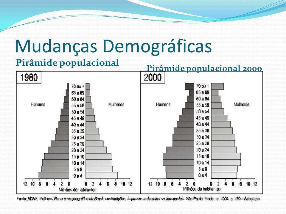 Mudanças Demográficas Pirâmide populacional 1980 Pirâmide populacional 2000