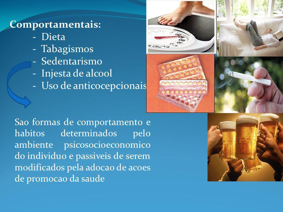 Comportamentais: - Dieta - Tabagismos - Sedentarismo - Injesta de alcool - Uso de anticocepcionais Sao formas de comportamento e habitos determinados