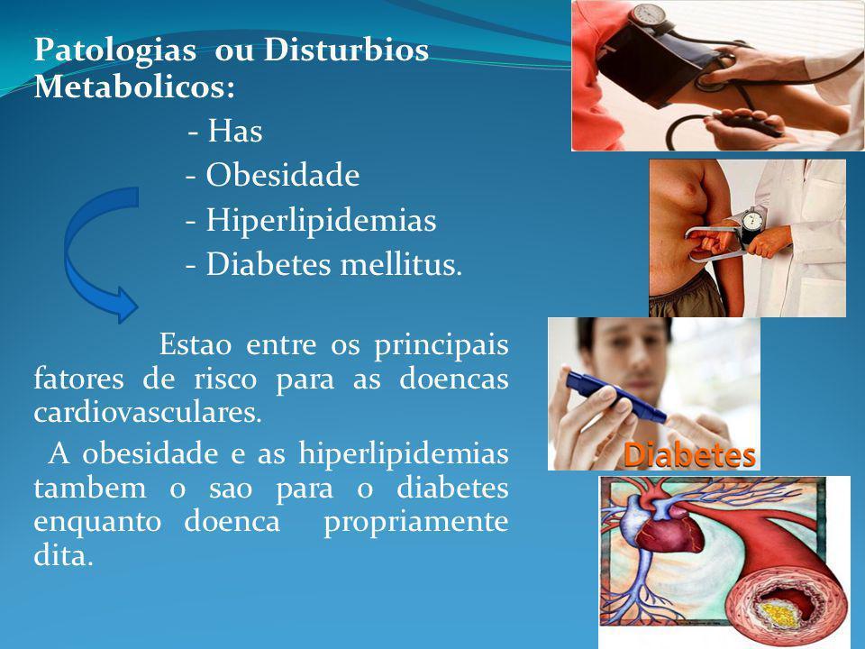 Patologias ou Disturbios Metabolicos: - Has - Obesidade - Hiperlipidemias - Diabetes mellitus. Estao entre os principais fatores de risco para as doen