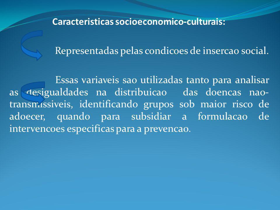 Caracteristicas socioeconomico-culturais: Representadas pelas condicoes de insercao social. Essas variaveis sao utilizadas tanto para analisar as desi