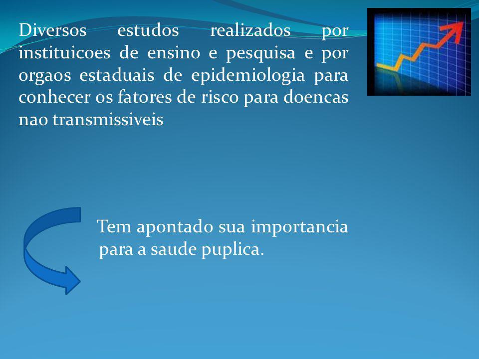 Diversos estudos realizados por instituicoes de ensino e pesquisa e por orgaos estaduais de epidemiologia para conhecer os fatores de risco para doenc