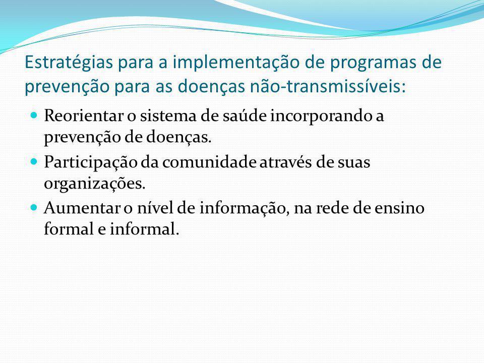 Estratégias para a implementação de programas de prevenção para as doenças não-transmissíveis: Reorientar o sistema de saúde incorporando a prevenção