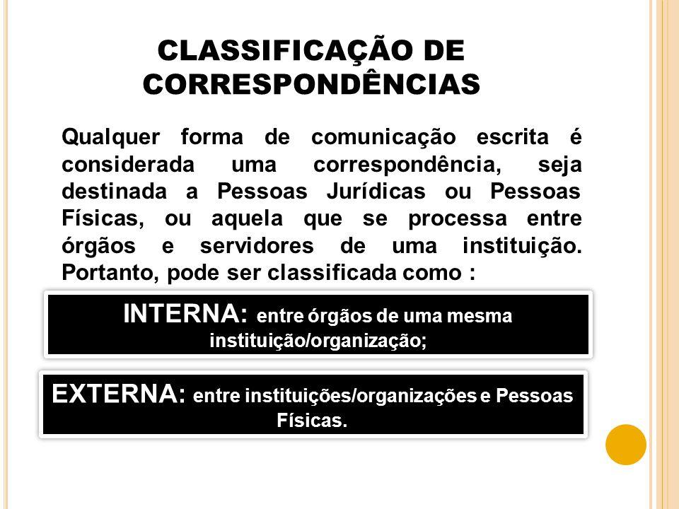 CLASSIFICAÇÃO DE CORRESPONDÊNCIAS Qualquer forma de comunicação escrita é considerada uma correspondência, seja destinada a Pessoas Jurídicas ou Pesso