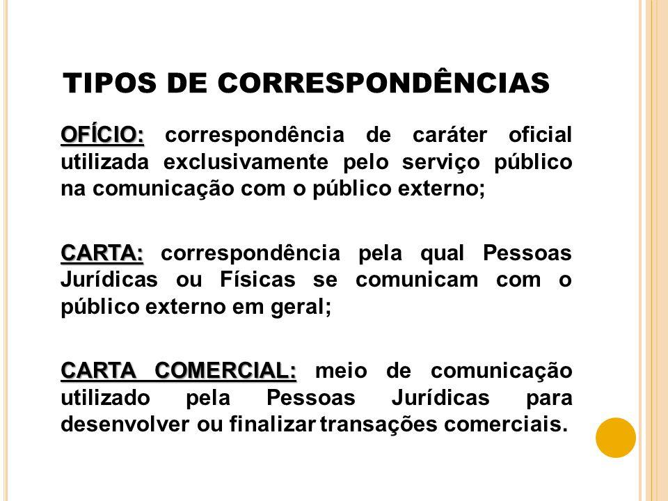 TIPOS DE CORRESPONDÊNCIAS OFÍCIO: OFÍCIO: correspondência de caráter oficial utilizada exclusivamente pelo serviço público na comunicação com o públic