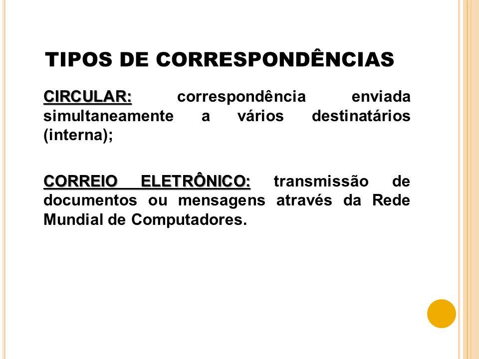 TIPOS DE CORRESPONDÊNCIAS CIRCULAR: CIRCULAR: correspondência enviada simultaneamente a vários destinatários (interna); CORREIO ELETRÔNICO: CORREIO EL