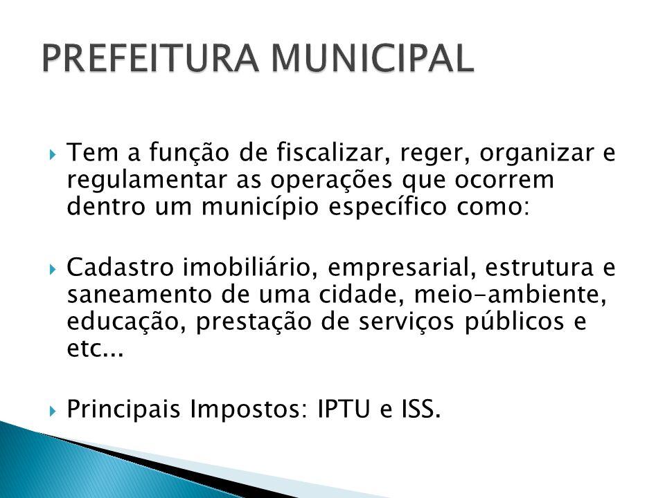 Tem a função de fiscalizar, reger, organizar e regulamentar as operações que ocorrem dentro um município específico como: Cadastro imobiliário, empresarial, estrutura e saneamento de uma cidade, meio-ambiente, educação, prestação de serviços públicos e etc...