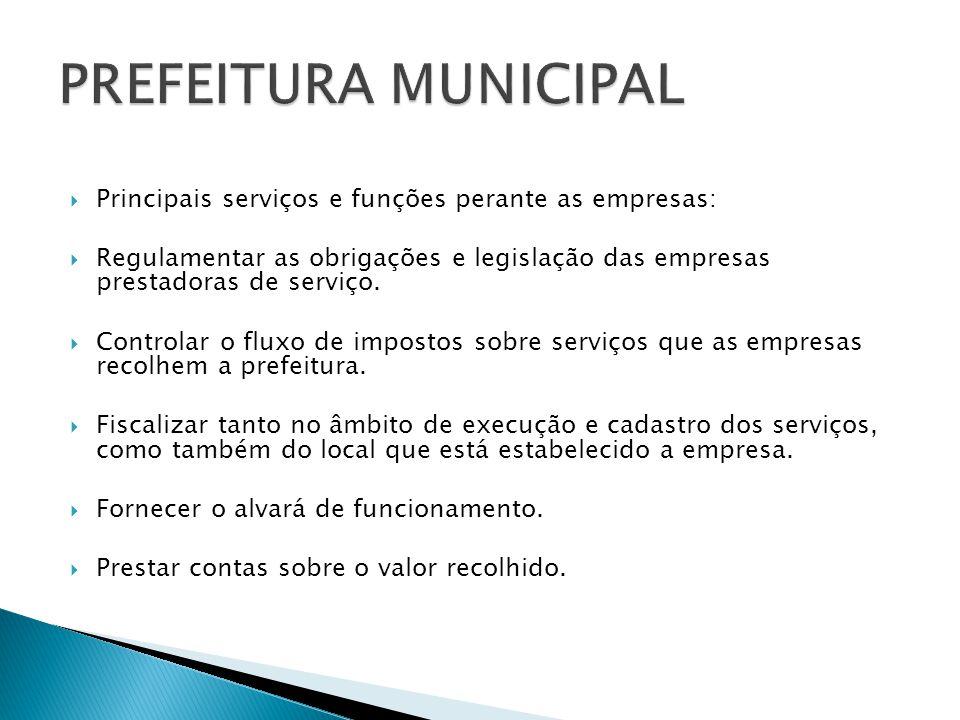 Principais serviços e funções perante as empresas: Regulamentar as obrigações e legislação das empresas prestadoras de serviço. Controlar o fluxo de i