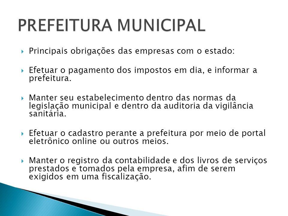 Principais obrigações das empresas com o estado: Efetuar o pagamento dos impostos em dia, e informar a prefeitura.