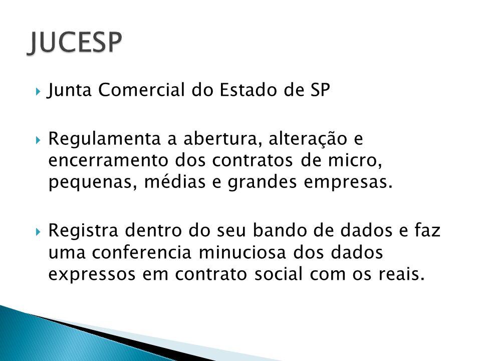 Junta Comercial do Estado de SP Regulamenta a abertura, alteração e encerramento dos contratos de micro, pequenas, médias e grandes empresas. Registra
