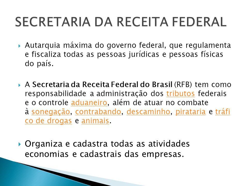 Autarquia máxima do governo federal, que regulamenta e fiscaliza todas as pessoas jurídicas e pessoas físicas do país. A Secretaria da Receita Federal
