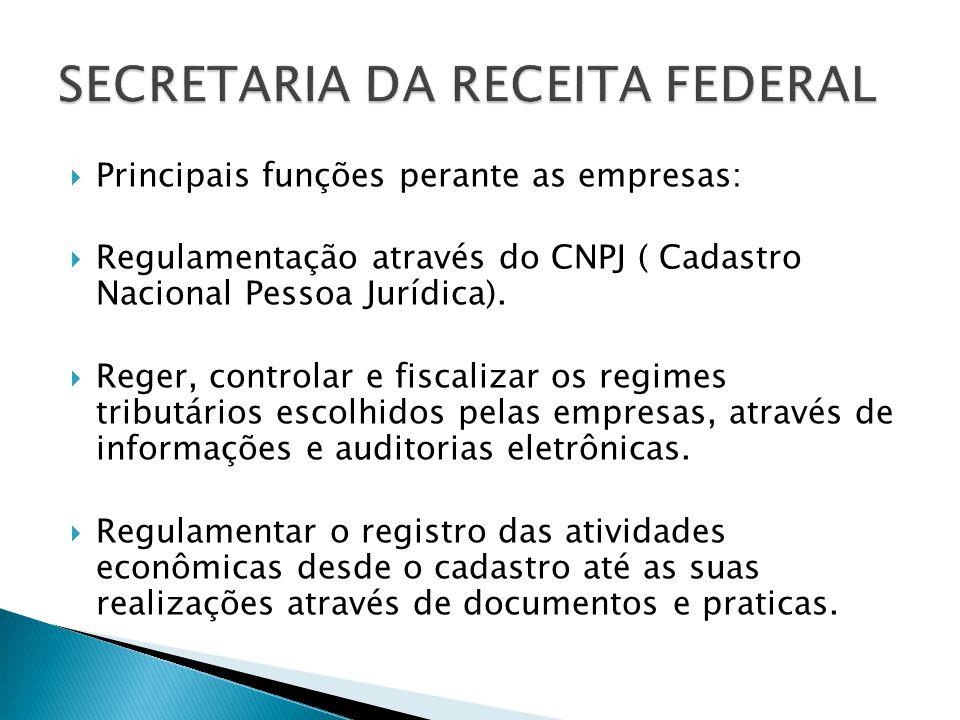 Principais funções perante as empresas: Regulamentação através do CNPJ ( Cadastro Nacional Pessoa Jurídica). Reger, controlar e fiscalizar os regimes