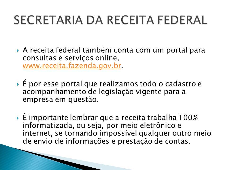 A receita federal também conta com um portal para consultas e serviços online, www.receita.fazenda.gov.br. www.receita.fazenda.gov.br É por esse porta