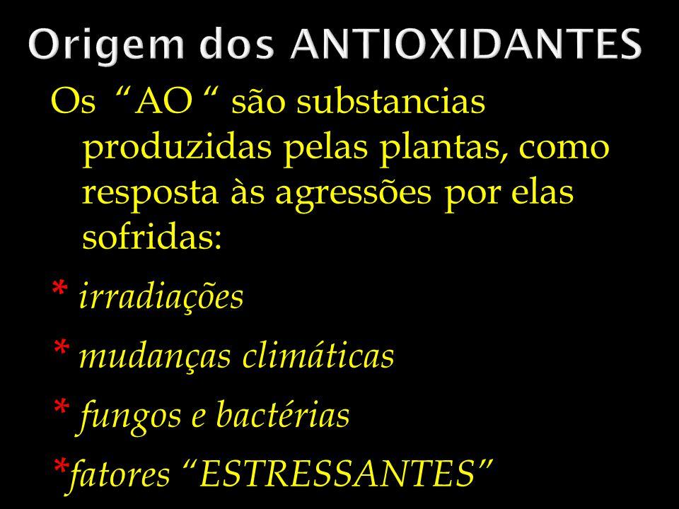Os AO são substancias produzidas pelas plantas, como resposta às agressões por elas sofridas: * irradiações * mudanças climáticas * fungos e bactérias