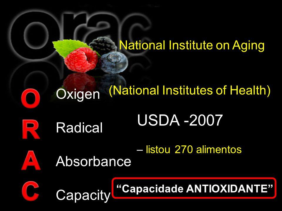 Oxigen Radical Absorbance Capacity National Institute on Aging (National Institutes of Health) USDA -2007 – listou 270 alimentos Capacidade ANTIOXIDAN