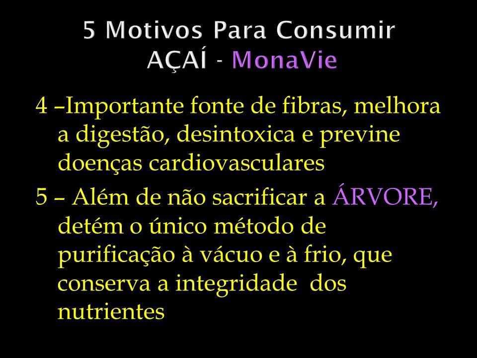 4 –Importante fonte de fibras, melhora a digestão, desintoxica e previne doenças cardiovasculares 5 – Além de não sacrificar a ÁRVORE, detém o único m