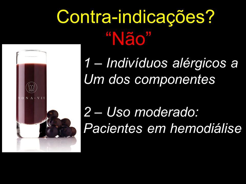Contra-indicações? Não 1 – Indivíduos alérgicos a Um dos componentes 2 – Uso moderado: Pacientes em hemodiálise