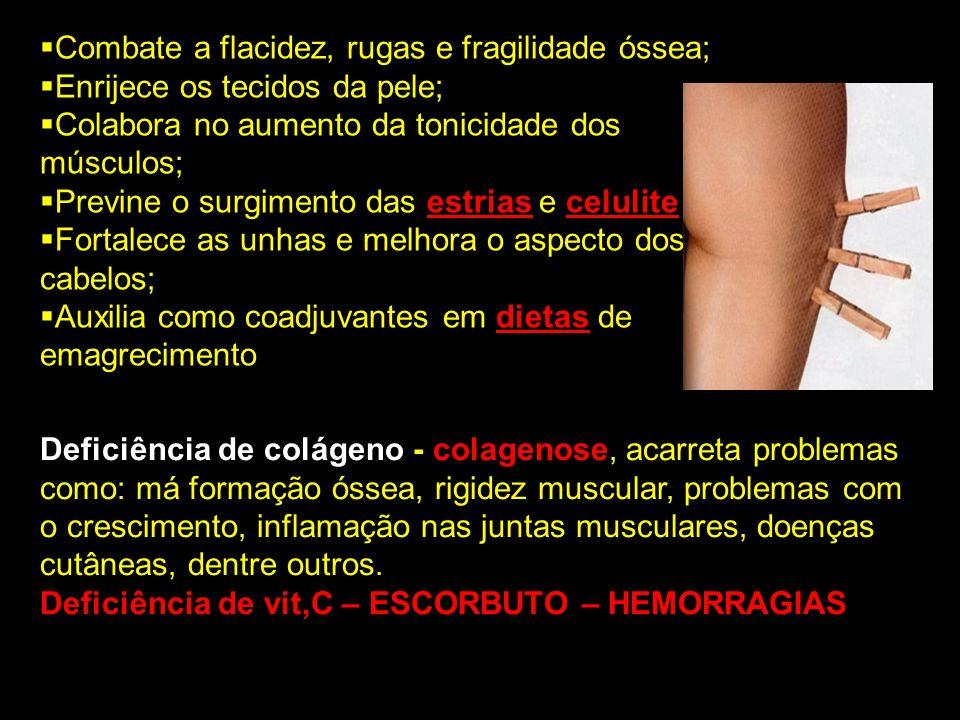 Combate a flacidez, rugas e fragilidade óssea; Enrijece os tecidos da pele; Colabora no aumento da tonicidade dos músculos; Previne o surgimento das e