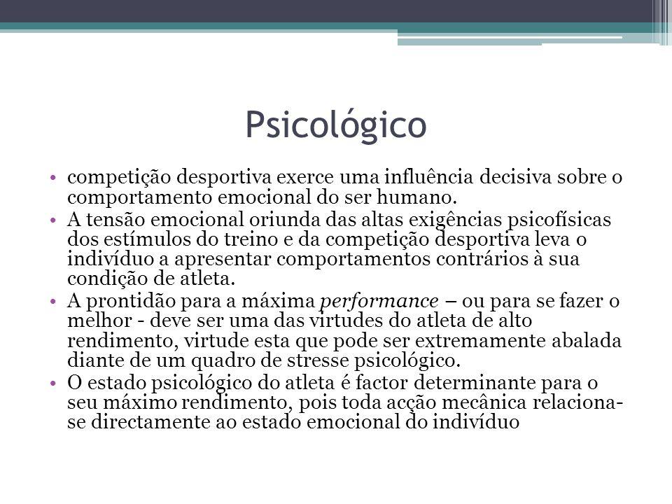 Psicológico competição desportiva exerce uma influência decisiva sobre o comportamento emocional do ser humano.