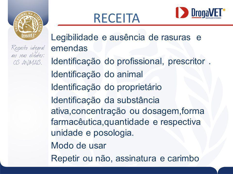 RECEITA Legibilidade e ausência de rasuras e emendas Identificação do profissional, prescritor.