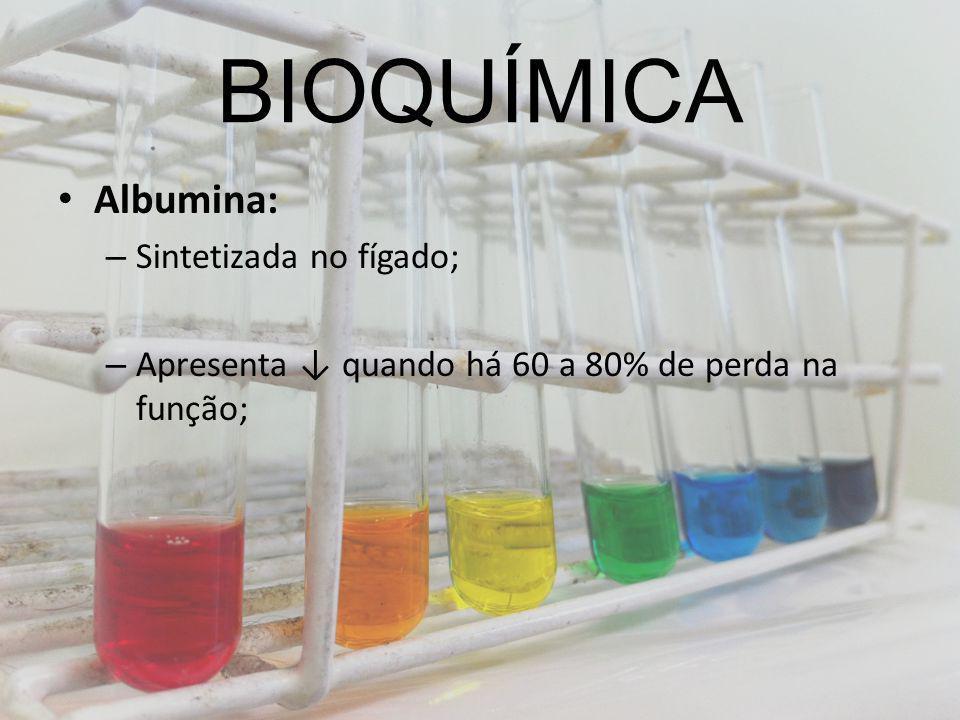 BIOQUÍMICA Albumina: – Sintetizada no fígado; – Apresenta quando há 60 a 80% de perda na função;