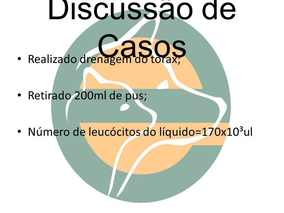 Discussão de Casos Realizado drenagem do tórax; Retirado 200ml de pus; Número de leucócitos do líquido=170x10³ul