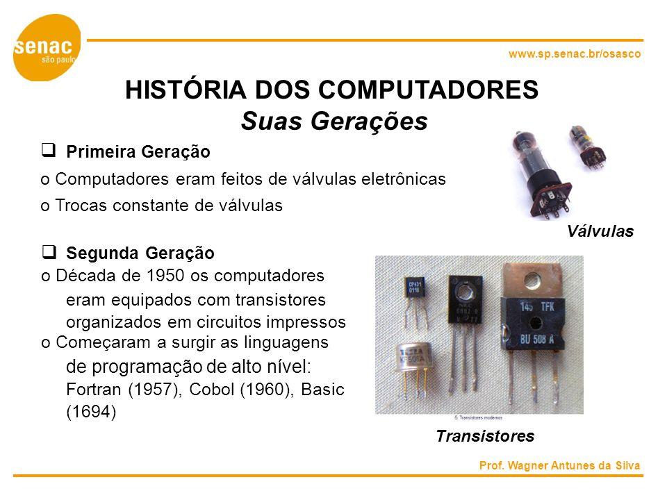www.sp.senac.br/osasco HISTÓRIA DOS COMPUTADORES Suas Gerações Primeira Geração o Computadores eram feitos de válvulas eletrônicas o Trocas constante de válvulas Válvulas Segunda Geração o Década de 1950 os computadores eram equipados com transistores organizados em circuitos impressos o Começaram a surgir as linguagens de programação de alto nível: Fortran (1957), Cobol (1960), Basic (1694) Transistores Prof.