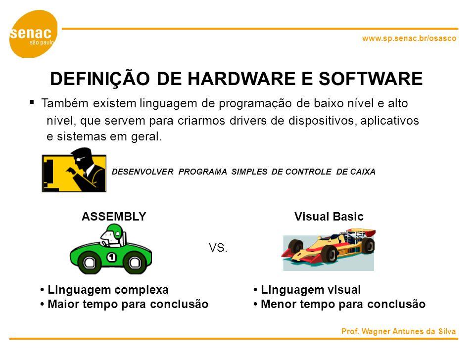 www.sp.senac.br/osasco DEFINIÇÃO DE HARDWARE E SOFTWARE Também existem linguagem de programação de baixo nível e alto nível, que servem para criarmos drivers de dispositivos, aplicativos e sistemas em geral.