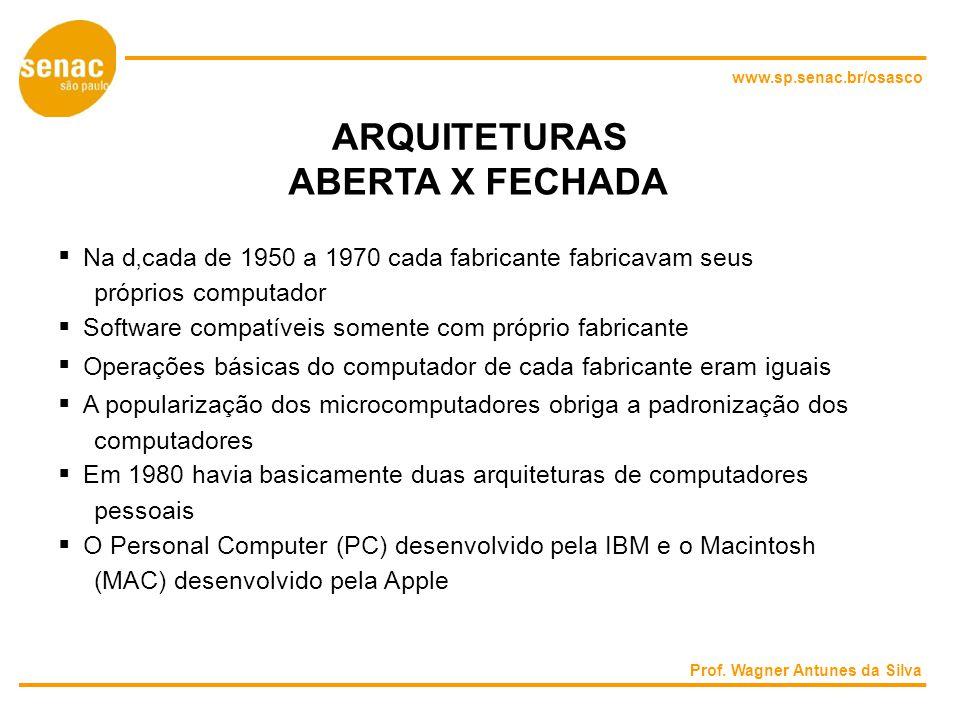 www.sp.senac.br/osasco ARQUITETURAS ABERTA X FECHADA Na dcada de 1950 a 1970 cada fabricante fabricavam seus próprios computador Software compatíveis somente com próprio fabricante Operações básicas do computador de cada fabricante eram iguais A popularização dos microcomputadores obriga a padronização dos computadores Em 1980 havia basicamente duas arquiteturas de computadores pessoais O Personal Computer (PC) desenvolvido pela IBM e o Macintosh (MAC) desenvolvido pela Apple Prof.