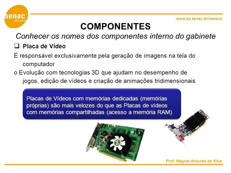 www.sp.senac.br/osasco COMPONENTES Conhecer os nomes dos componentes interno do gabinete Placa de Vídeo É responsável exclusivamente pela geração de imagens na tela do computador o Evolução com tecnologias 3D que ajudam no desempenho de jogos, edição de vídeos e criação de animações tridimensionais Placas de Vídeos com memórias dedicadas (memórias próprias) são mais velozes do que as Placas de vídeos com memórias compartilhadas (acesso a memória RAM) Prof.