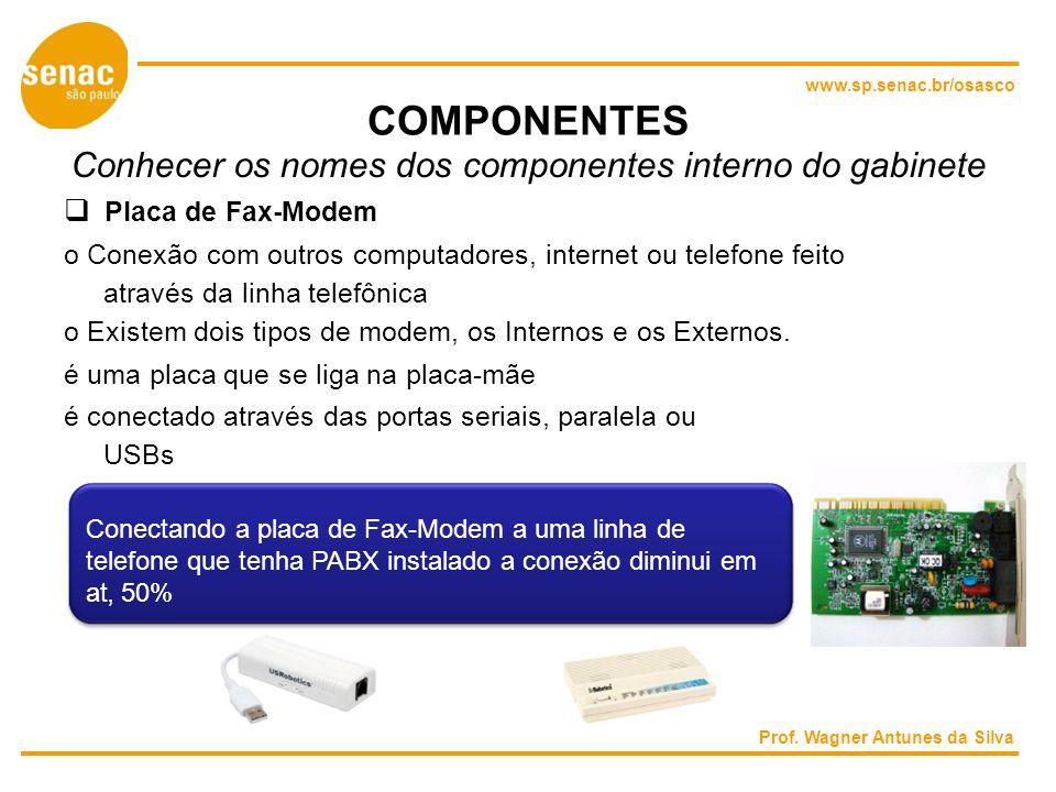 www.sp.senac.br/osasco COMPONENTES Conhecer os nomes dos componentes interno do gabinete Placa de Fax-Modem o Conexão com outros computadores, internet ou telefone feito através da linha telefônica o Existem dois tipos de modem, os Internos e os Externos.