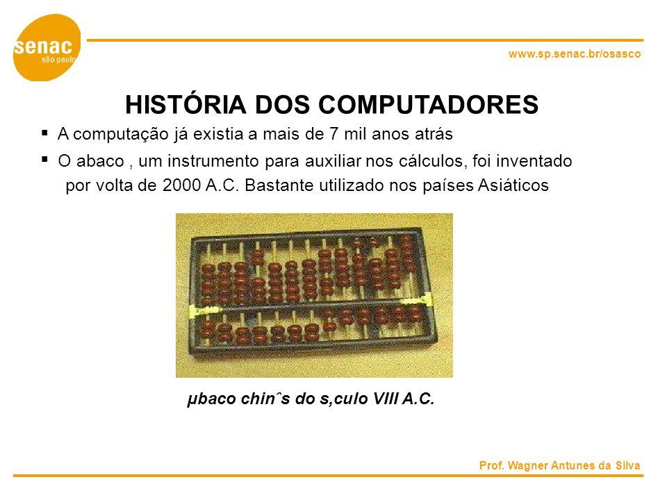www.sp.senac.br/osasco HISTÓRIA DOS COMPUTADORES A computação já existia a mais de 7 mil anos atrás O abaco um instrumento para auxiliar nos cálculos, foi inventado por volta de 2000 A.C.