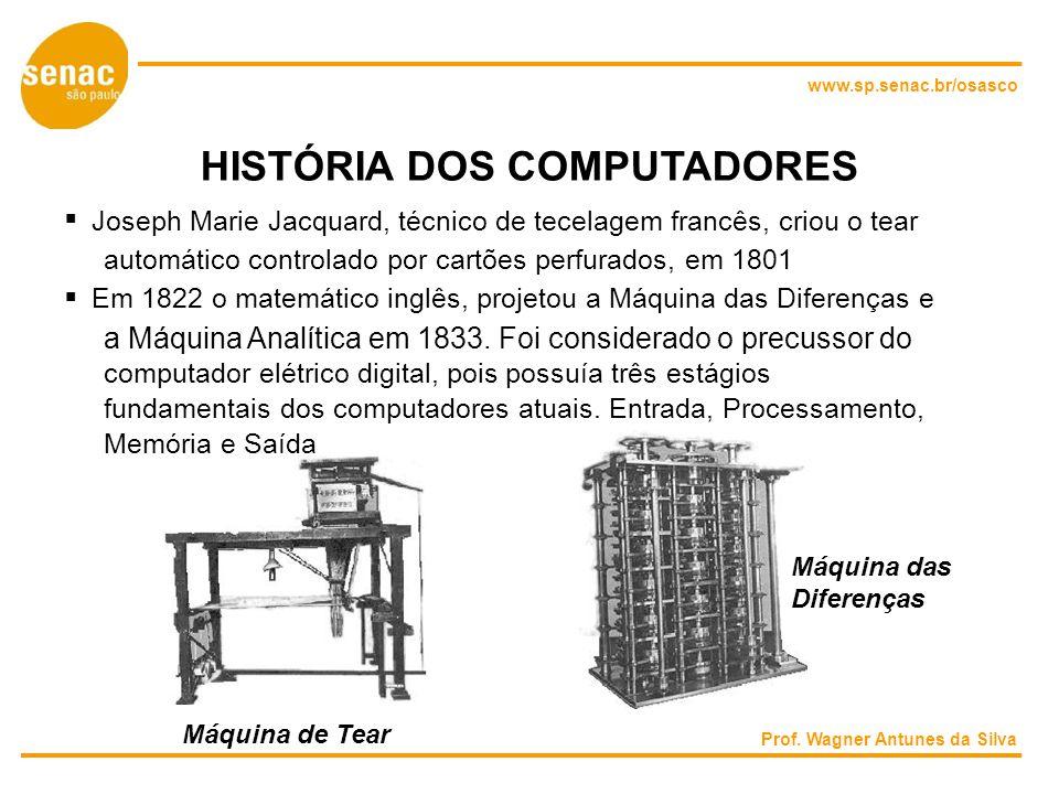 www.sp.senac.br/osasco HISTÓRIA DOS COMPUTADORES Joseph Marie Jacquard, técnico de tecelagem francês, criou o tear automático controlado por cartões perfurados, em 1801 Em 1822 o matemático inglês, projetou a Máquina das Diferenças e a Máquina Analítica em 1833.