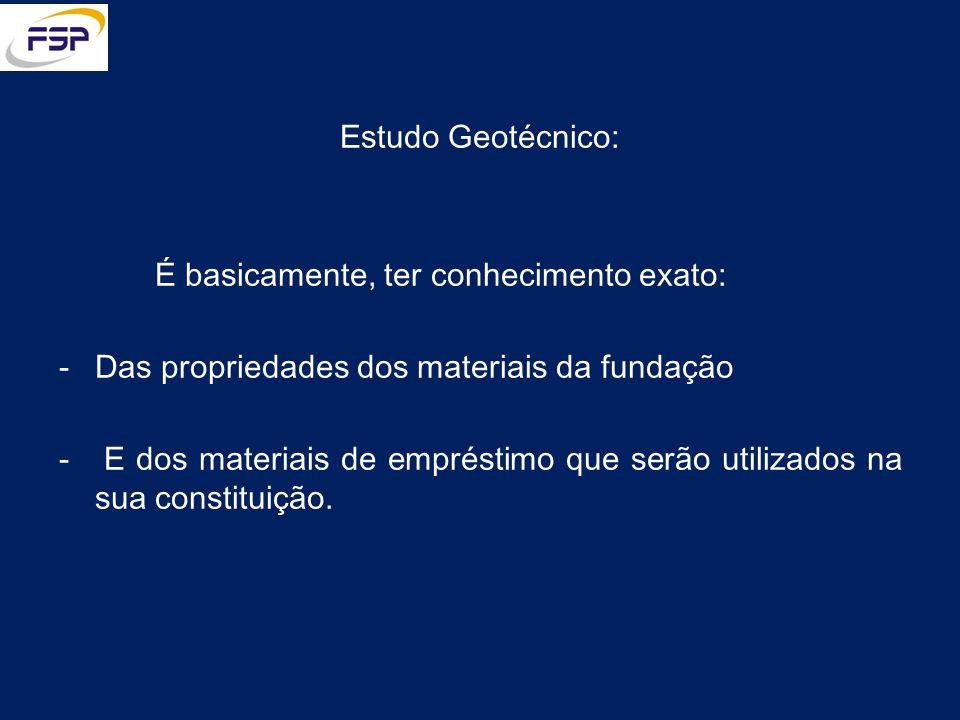 Estudo Geotécnico: É basicamente, ter conhecimento exato: -Das propriedades dos materiais da fundação - E dos materiais de empréstimo que serão utiliz