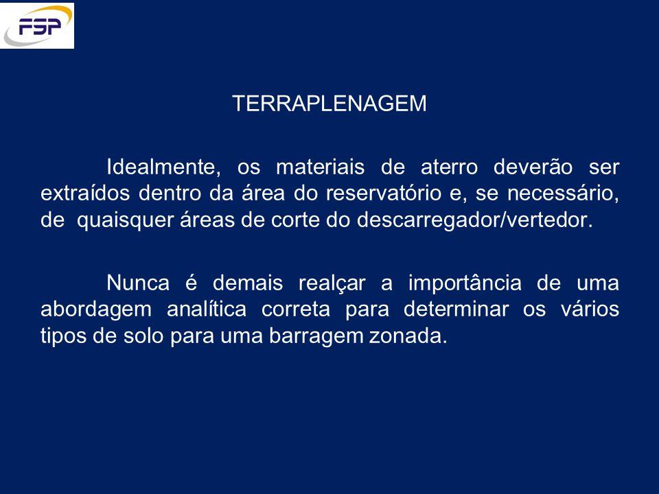 TERRAPLENAGEM Idealmente, os materiais de aterro deverão ser extraídos dentro da área do reservatório e, se necessário, de quaisquer áreas de corte do