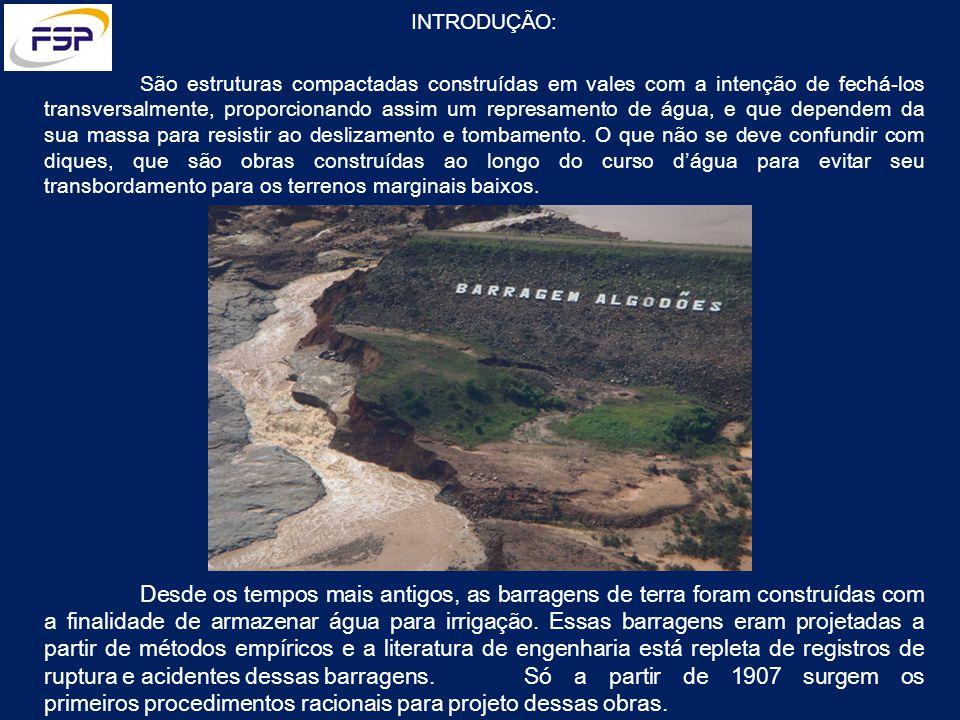 INTRODUÇÃO: São estruturas compactadas construídas em vales com a intenção de fechá-los transversalmente, proporcionando assim um represamento de água