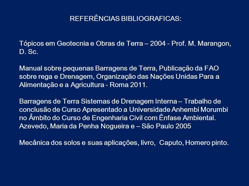 REFERÊNCIAS BIBLIOGRAFICAS: Tópicos em Geotecnia e Obras de Terra – 2004 - Prof. M. Marangon, D. Sc. Manual sobre pequenas Barragens de Terra, Publica