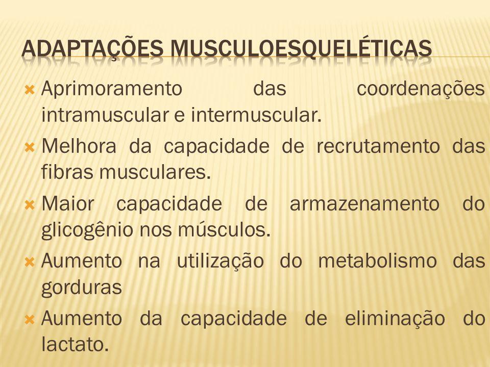Aprimoramento das coordenações intramuscular e intermuscular. Melhora da capacidade de recrutamento das fibras musculares. Maior capacidade de armazen
